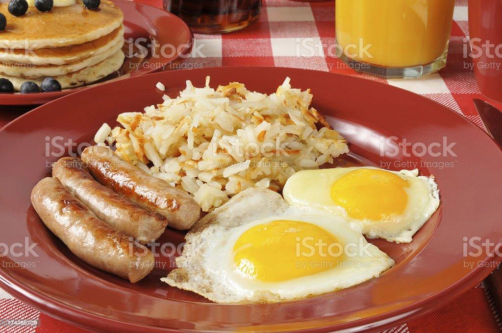 Sausage and eggs closeup royalty-free stock photo
