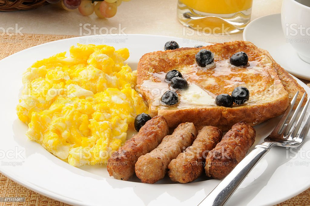 Sausage and eggs with french toast royalty-free stock photo