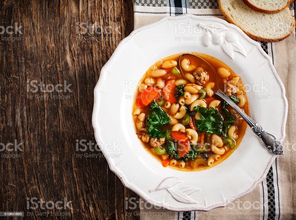 Sausage and kale soup stock photo