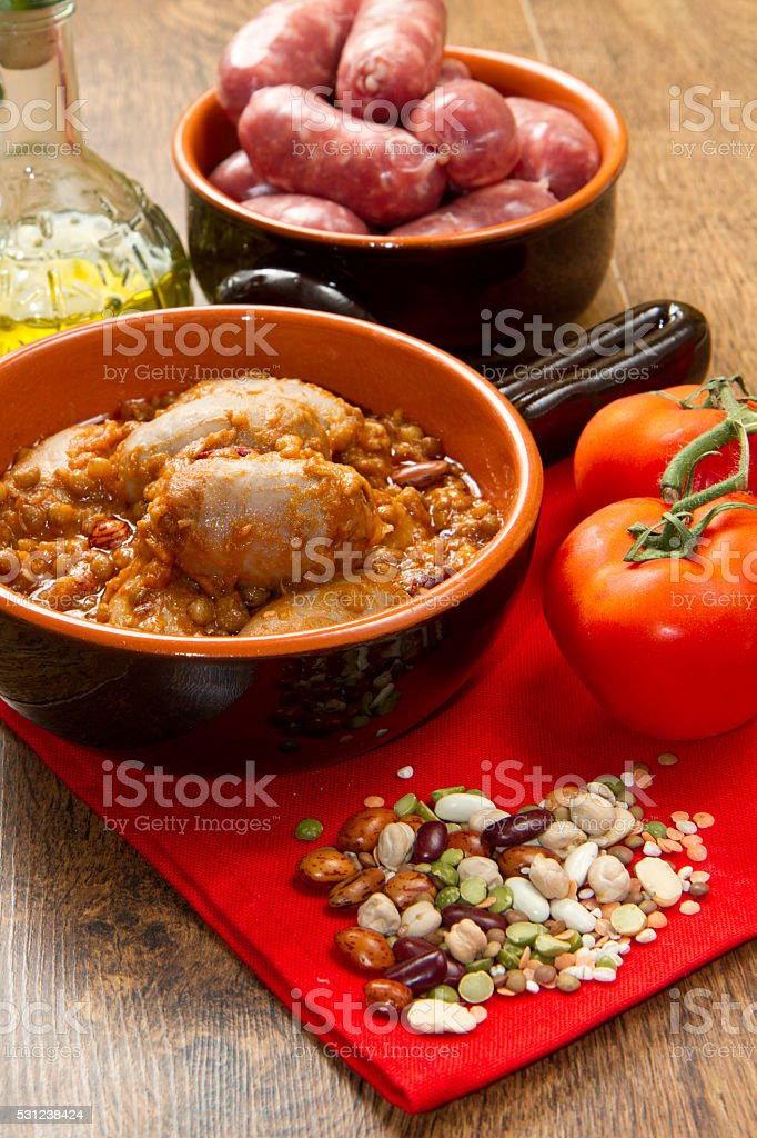 sausage and lentils stock photo