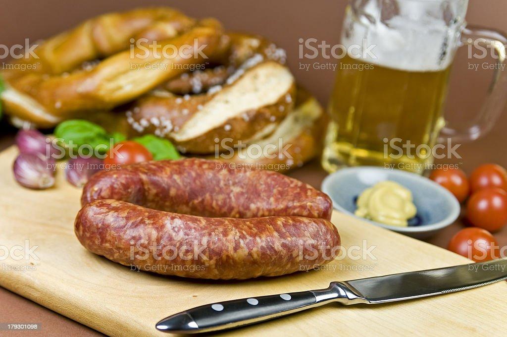 Sausage and Pretzel stock photo