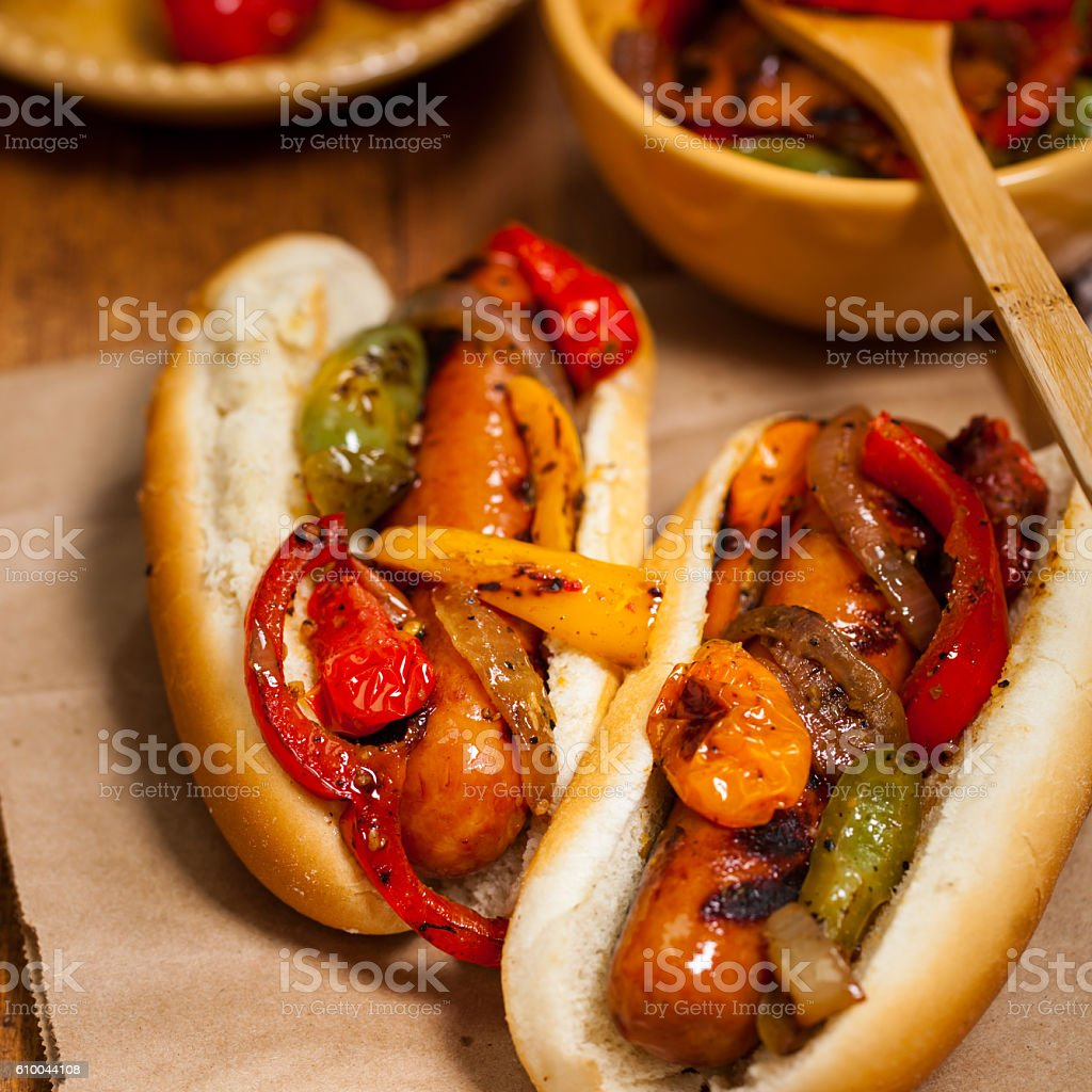 Sausage and Roasted Pepper Sandwich stock photo