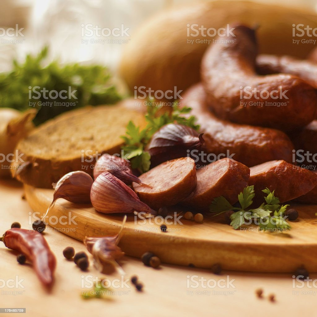 Sausage and spices stock photo