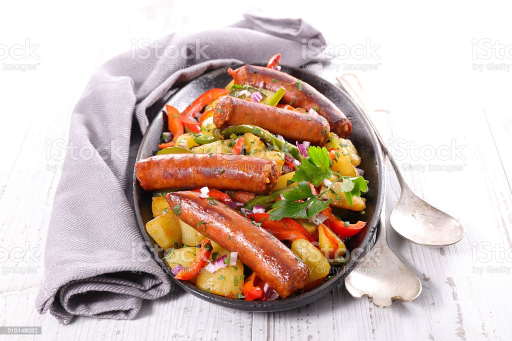 sausage and vegetable stock photo