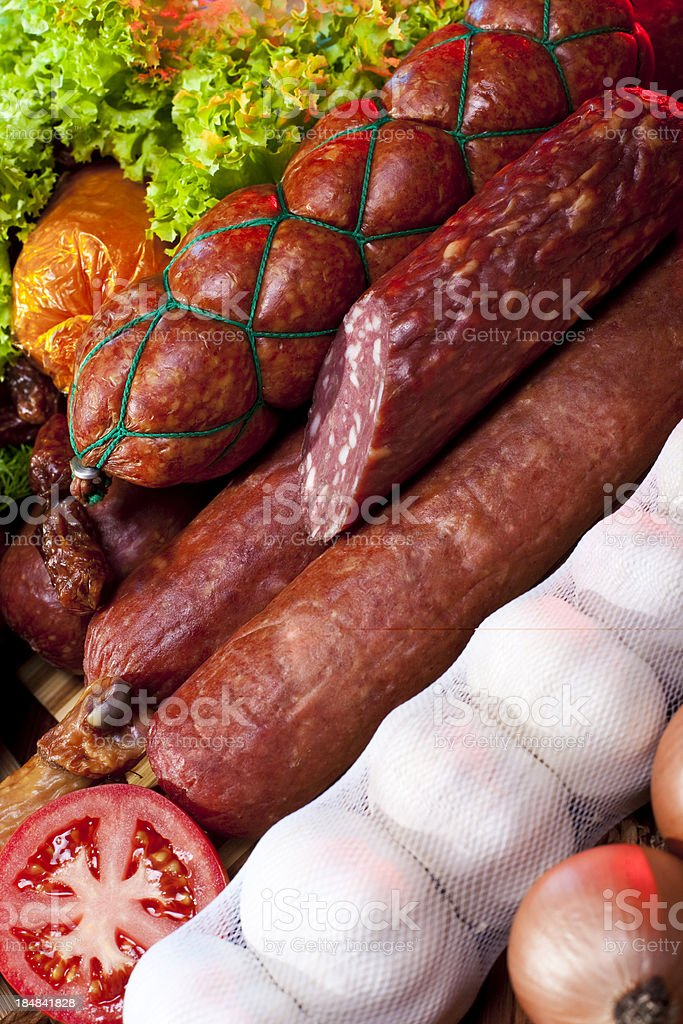 Sausage and vegetables royalty-free stock photo