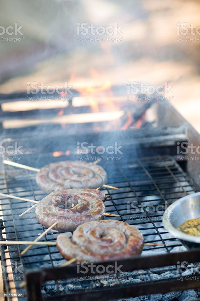 Sausage Barbecue stock photo