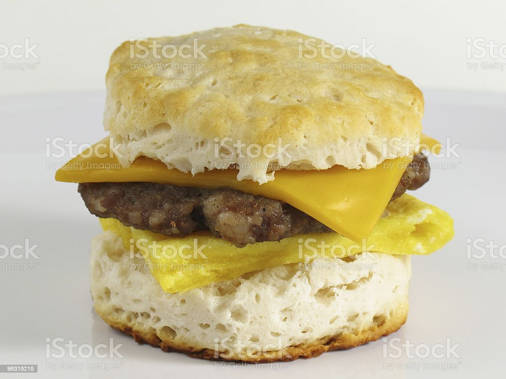 Sausage Biscuit Sandwich stock photo
