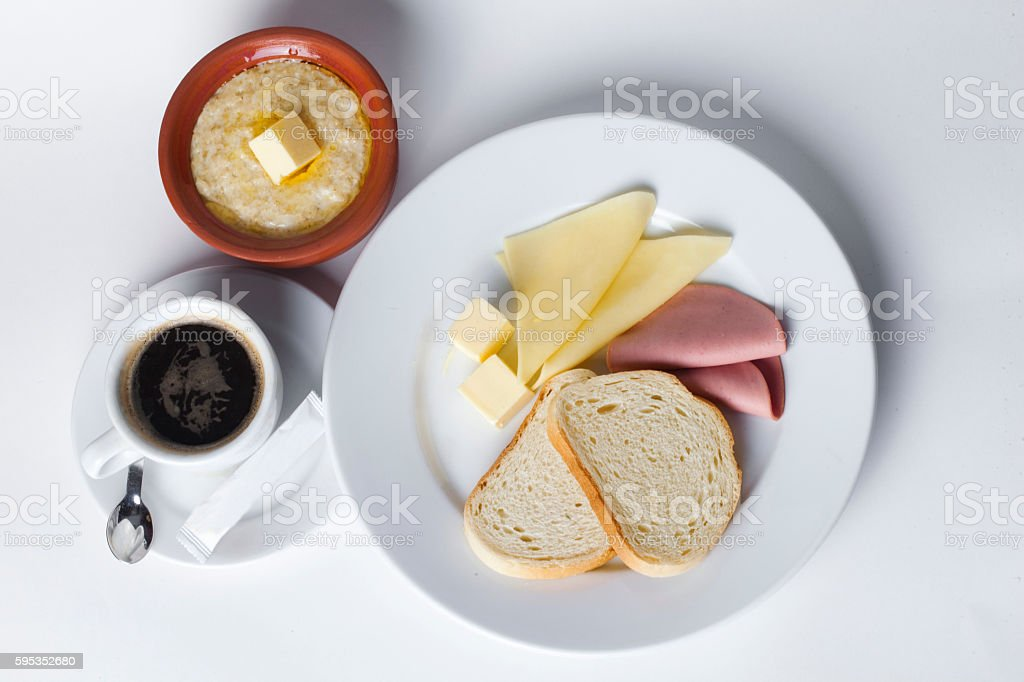 sausage, cheese, white bread, butter, cereal, pot, cafe, breakfast set stock photo