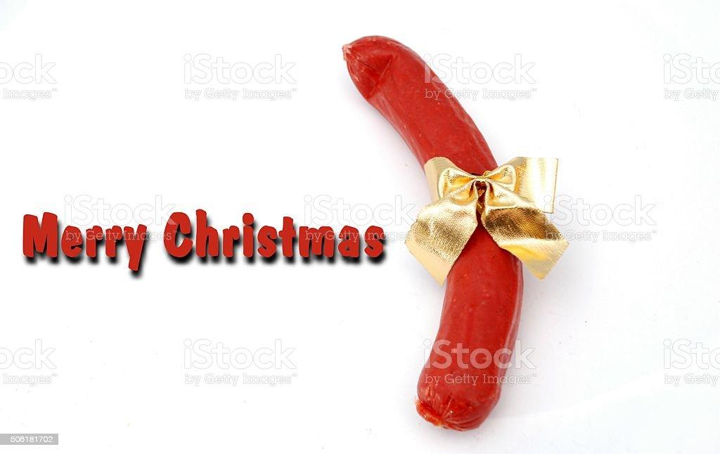 Sausage Christmas card stock photo
