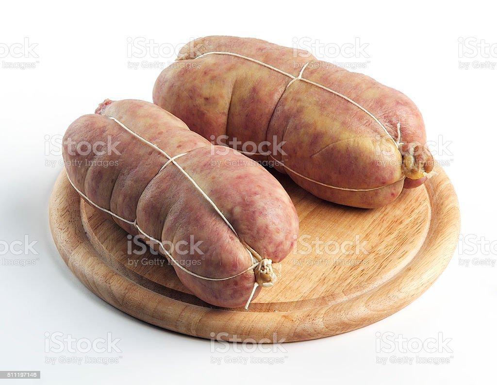Sausage Cotechino on cutting board stock photo