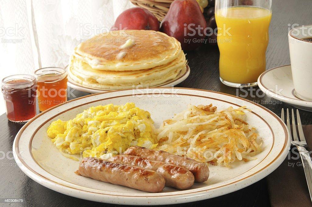 Sausage, egg and pancake breakfast stock photo