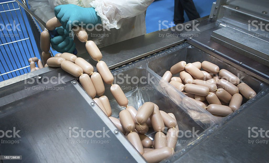 sausage in factory royalty-free stock photo
