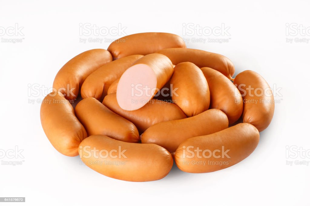 Sausage isolated on white background. stock photo