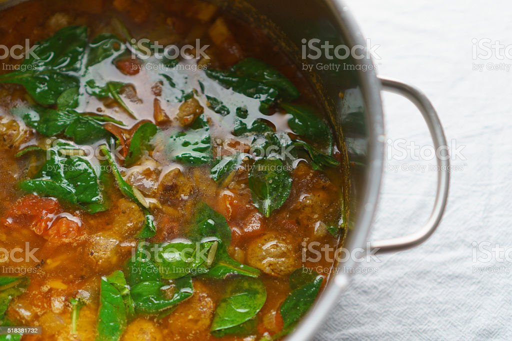 Sausage Minestra Soup in a Pot stock photo