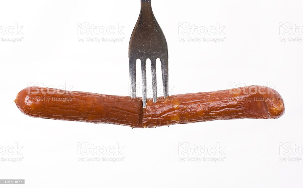 sausage on a fork royalty-free stock photo