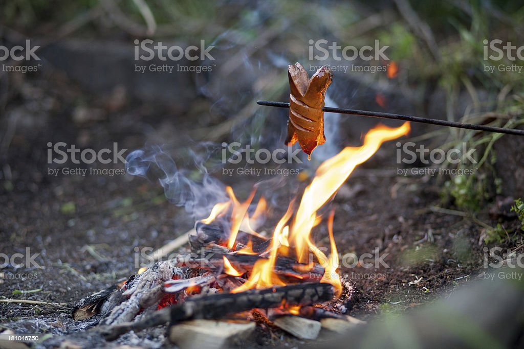 Sausage on grill royalty-free stock photo