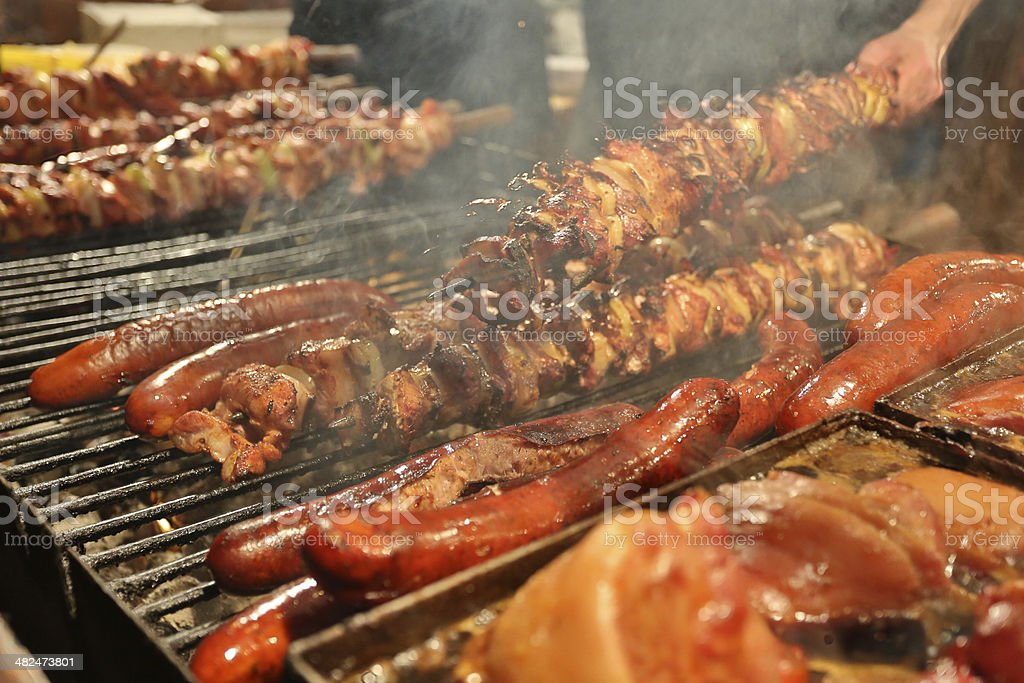 Sausage on large grill stock photo