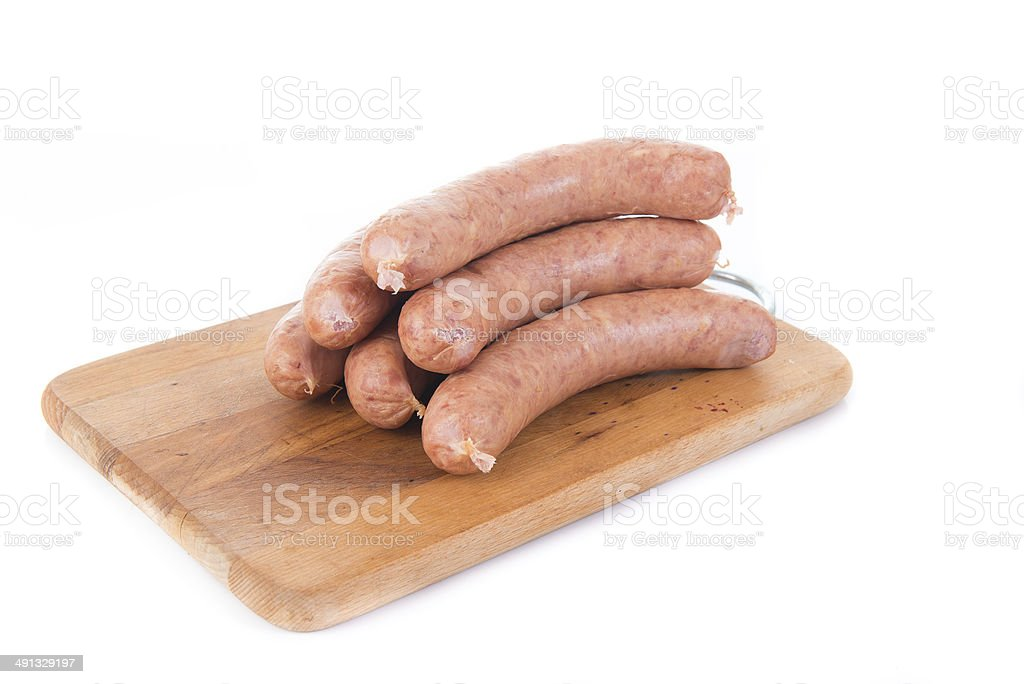 sausage on white background stock photo