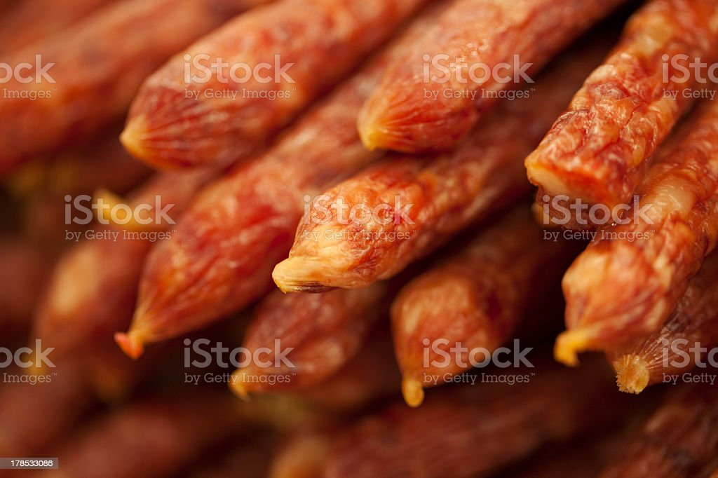 Sausage piled for sale royalty-free stock photo