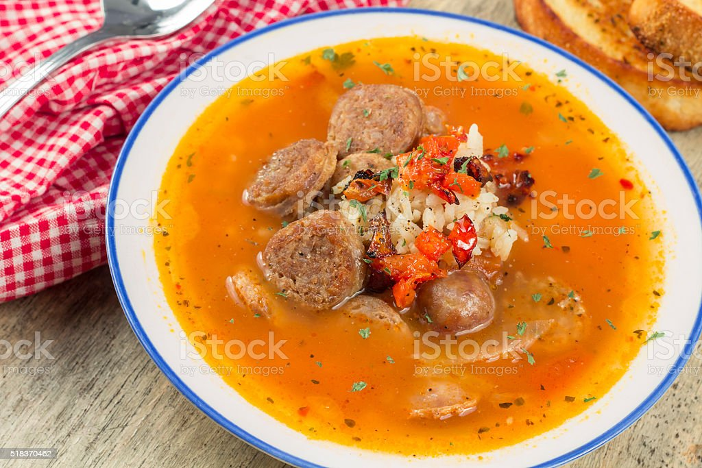 Sausage Rice Tomato Soup stock photo
