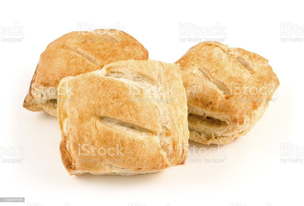 Sausage rolls pastry snack with meat on a white background stock photo