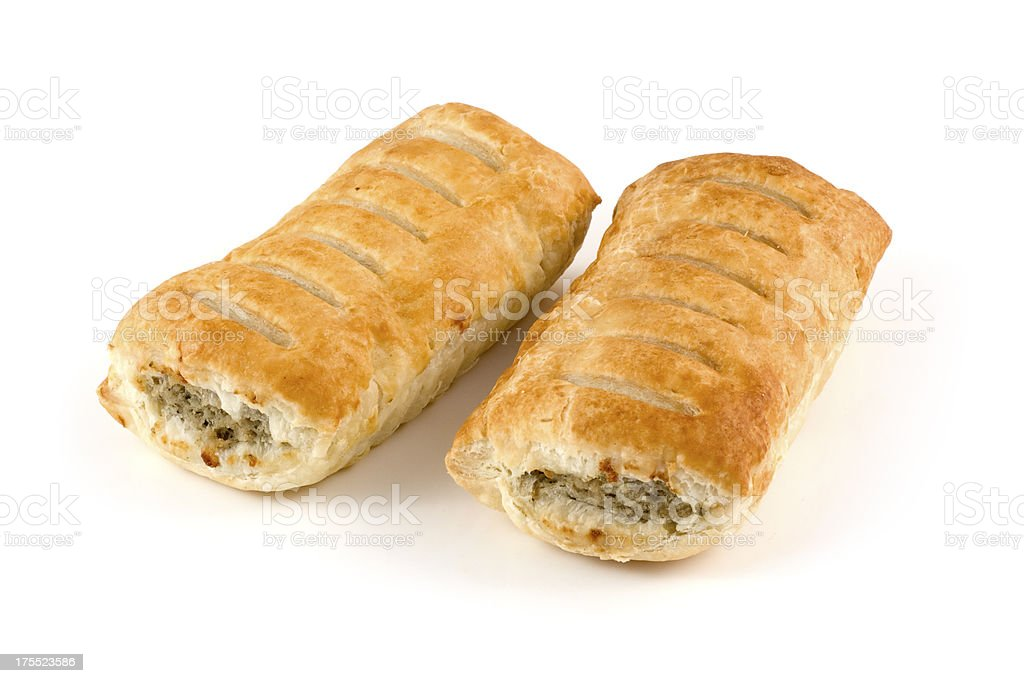 Sausage rolls pastry snacks with meat on a white background stock photo