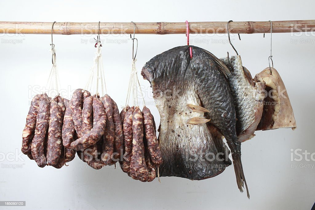 Sausage Salted fish and  bacon royalty-free stock photo