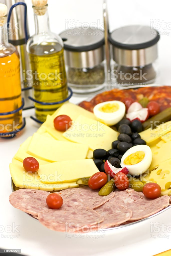 sausage with cheese and boiled eggs royalty-free stock photo