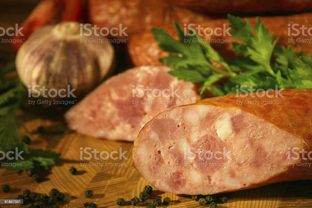 Sausage with parsley and garlic in country style royalty-free stock photo