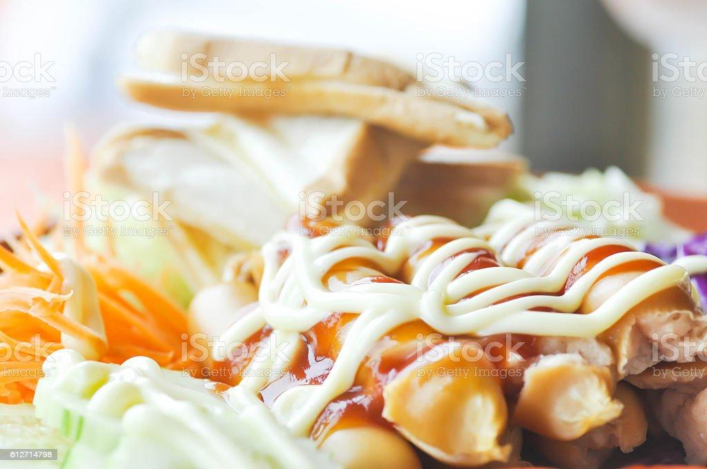 sausage with vegetable or sausage salad stock photo