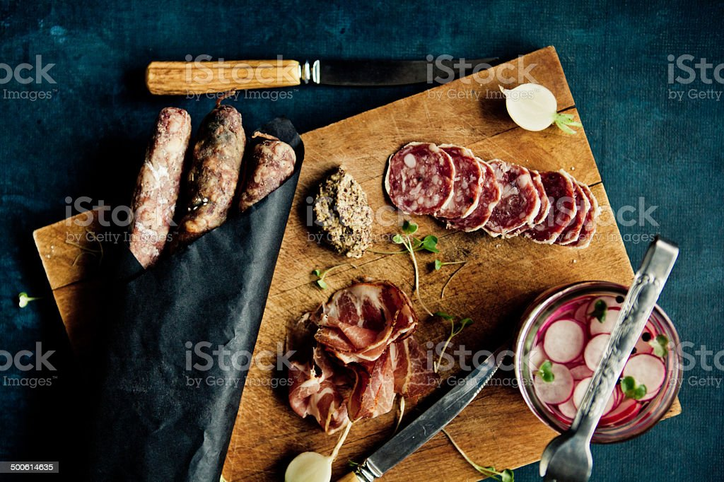 Sausages And Cold Cuts Platter stock photo