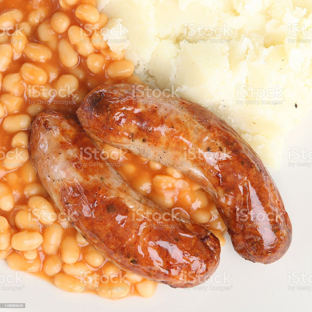 Sausages and Mashed Potato stock photo