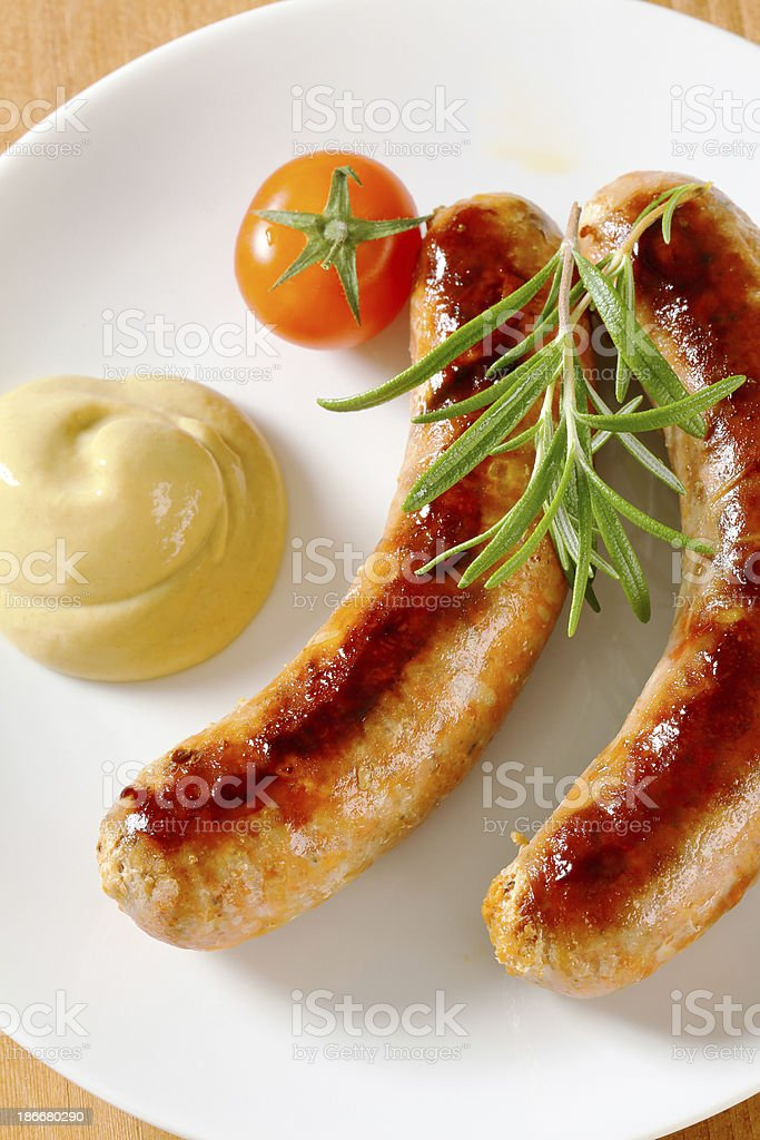sausages and mustard royalty-free stock photo