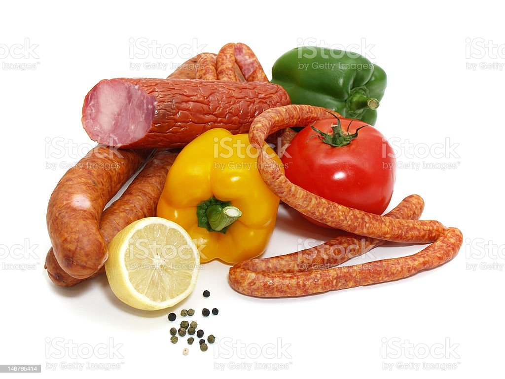 sausages and vegetables royalty-free stock photo