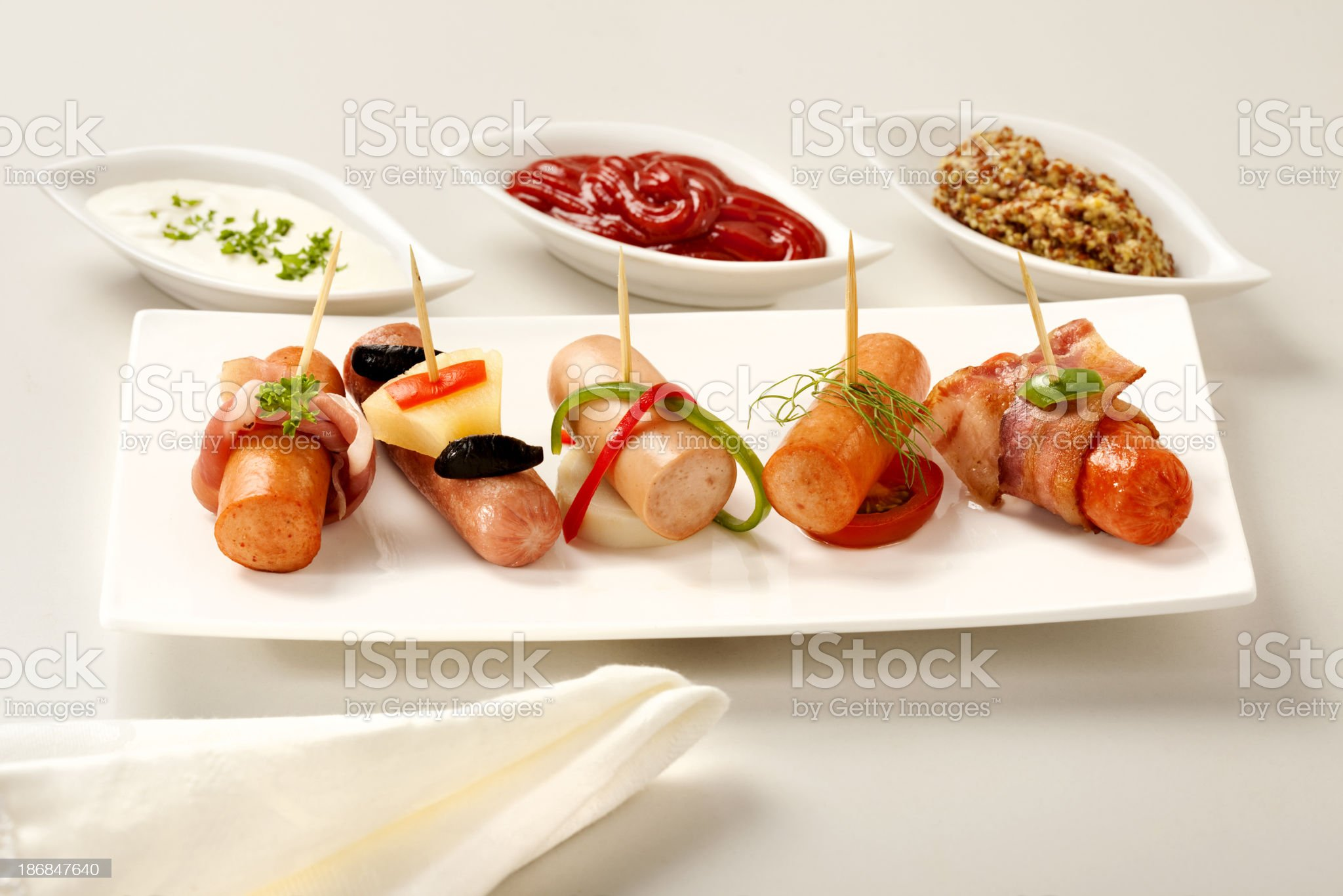 Sausages appetizer royalty-free stock photo