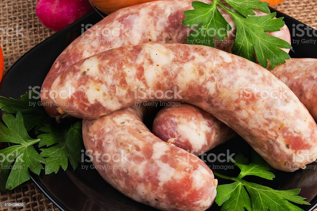 Sausages for frying stock photo