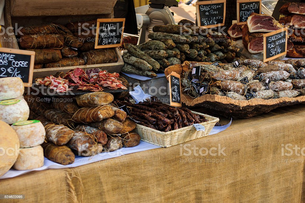 Sausages in a French Market stock photo
