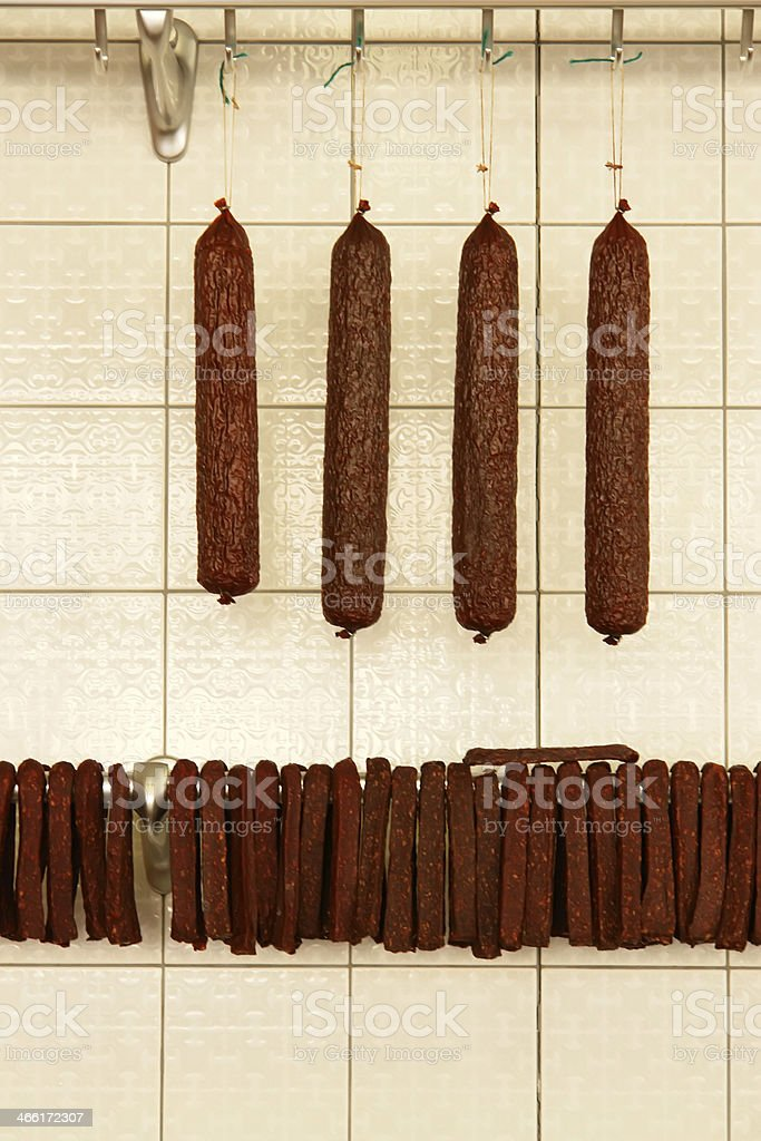 sausages in butcher shop stock photo