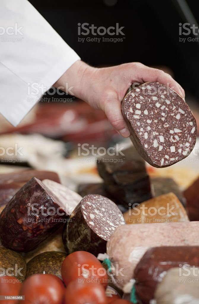 Sausages in butcher's shop stock photo