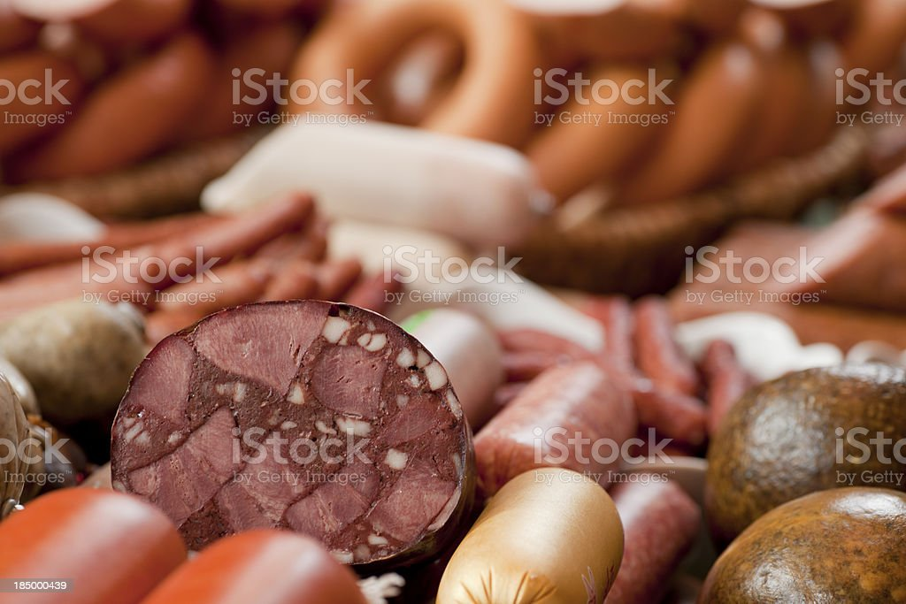 Sausages in butcher's shop royalty-free stock photo