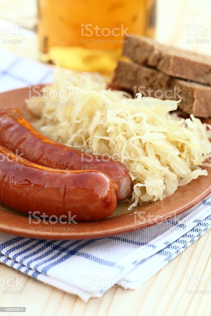 Sausages on plate royalty-free stock photo