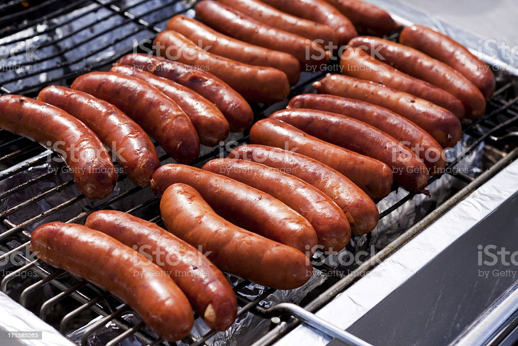 Sausages on the Gril royalty-free stock photo