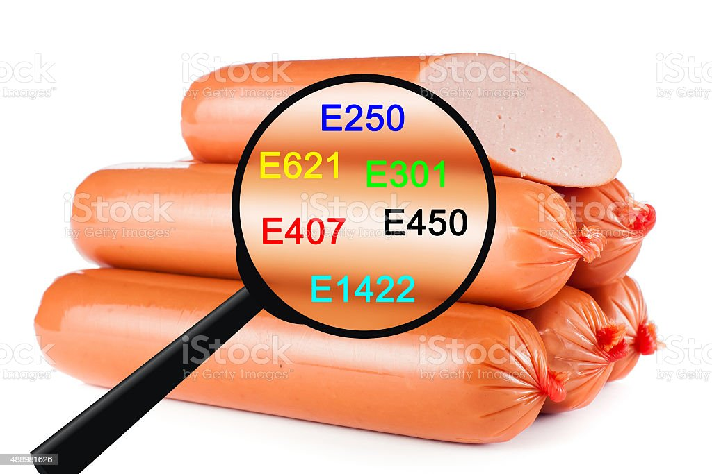 Sausages on white background stock photo