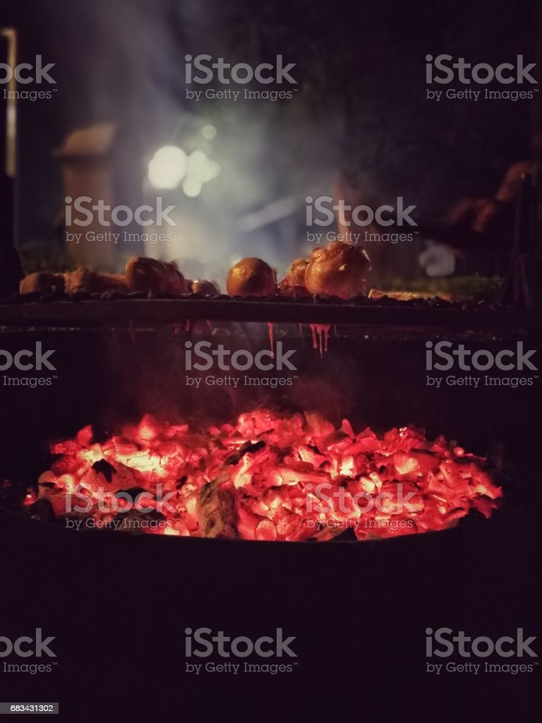 Sausages over the brace in the night stock photo