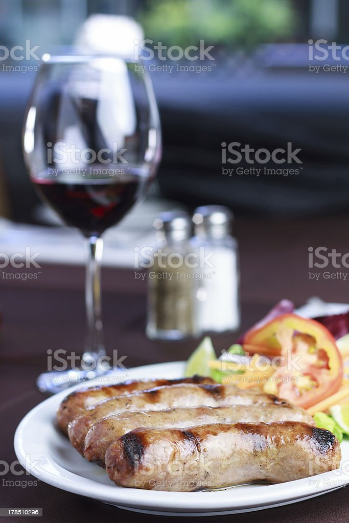 Sausages with salad royalty-free stock photo