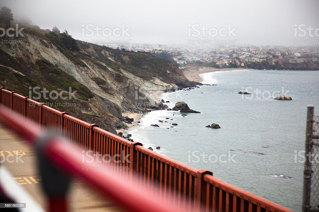 Sausalito California from the Golden Gate Bridge stock photo