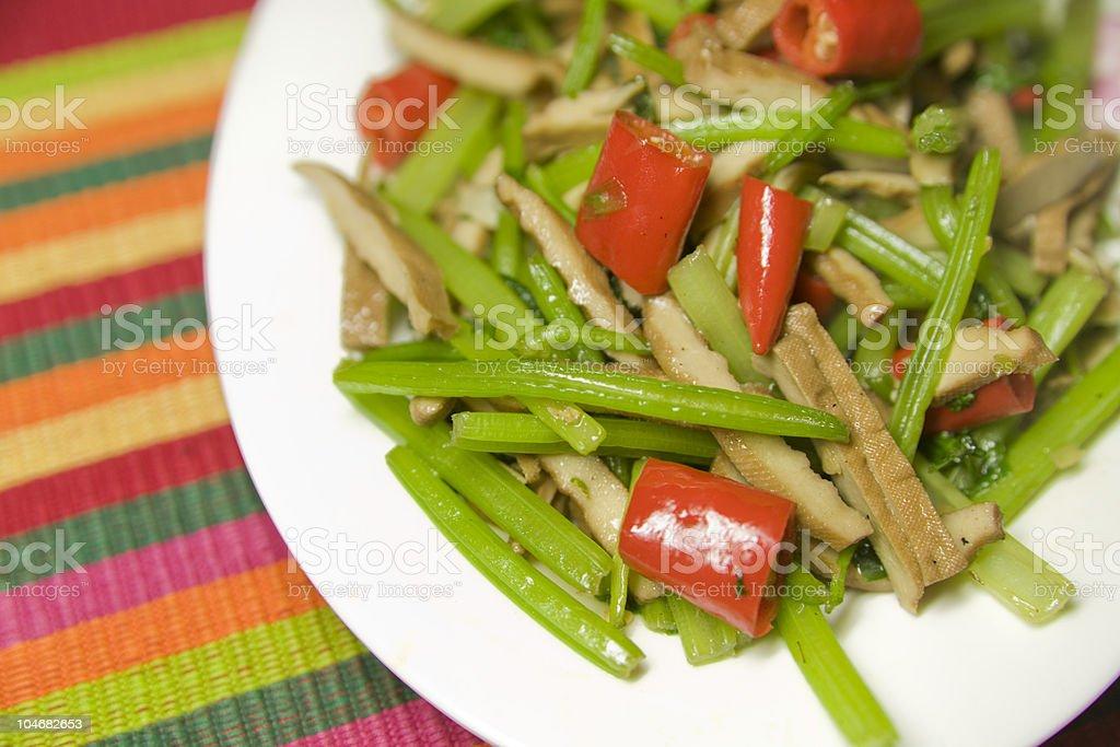 Sautéed Celery with Dried Tofu Slices royalty-free stock photo