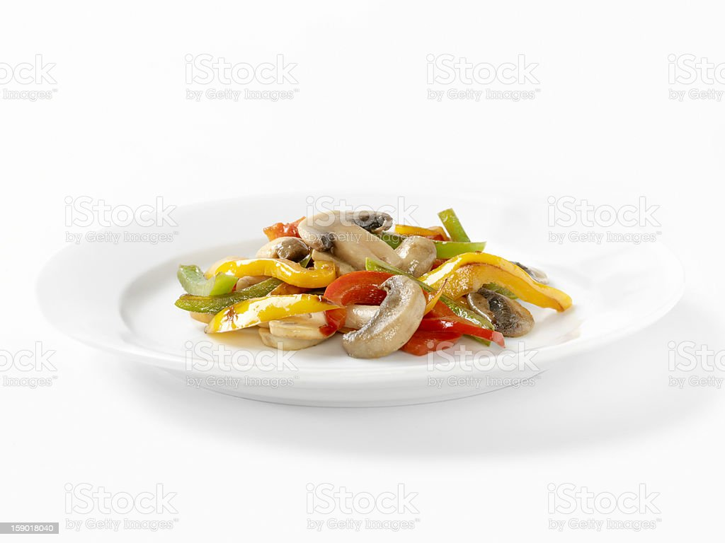 Sautéed Mushrooms, Garlic and Peppers royalty-free stock photo