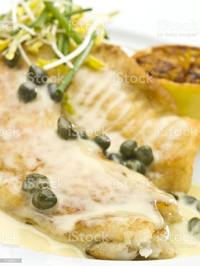 Saute fillet of tilapia with Capers Sauce royalty-free stock photo