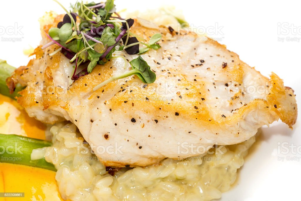 Saut?ed Filet of fish with risotto stock photo